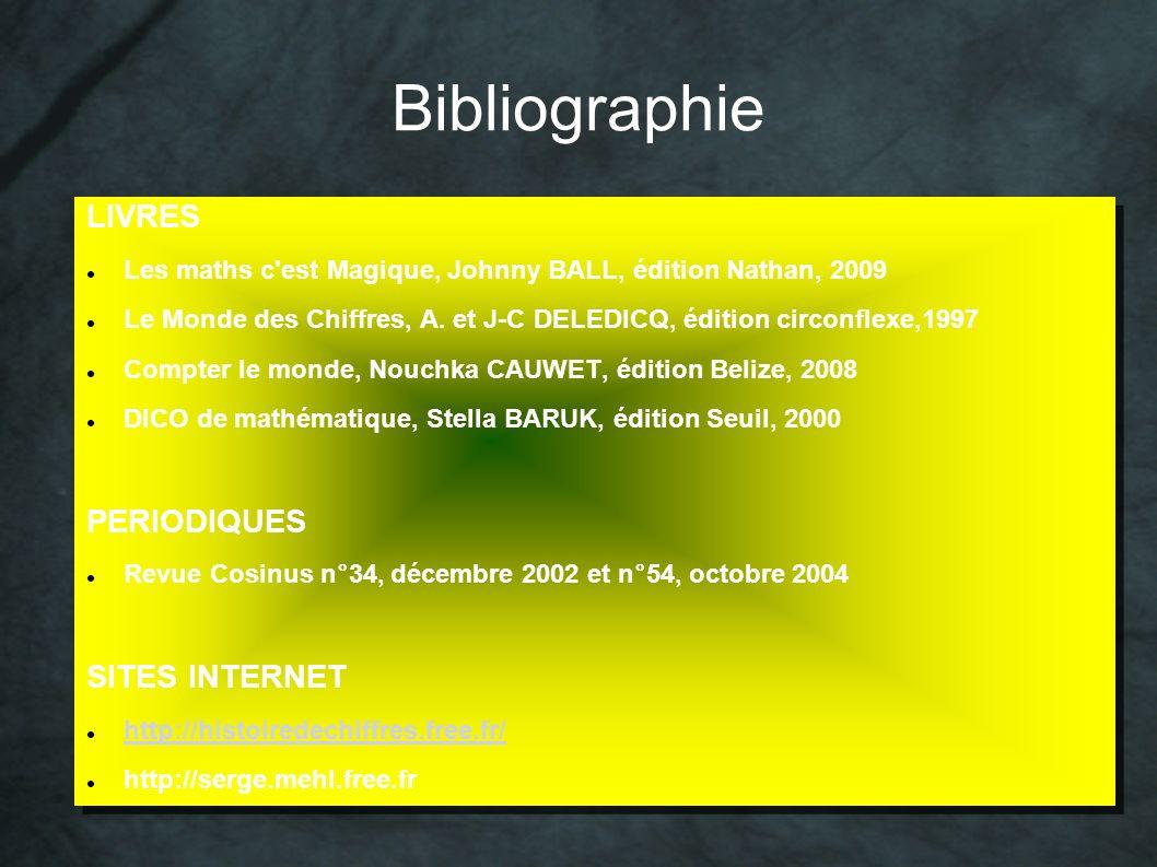 Bibliographie LIVRES Les maths c'est Magique, Johnny BALL, édition Nathan, 2009 Le Monde des Chiffres, A. et J-C DELEDICQ, édition circonflexe,1997 Co