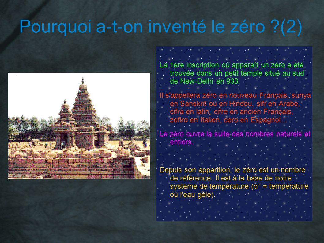 Pourquoi a-t-on inventé le zéro ?(2) La 1ère inscription où apparaît un zéro a été trouvée dans un petit temple situé au sud de New-Delhi en 933. Il s