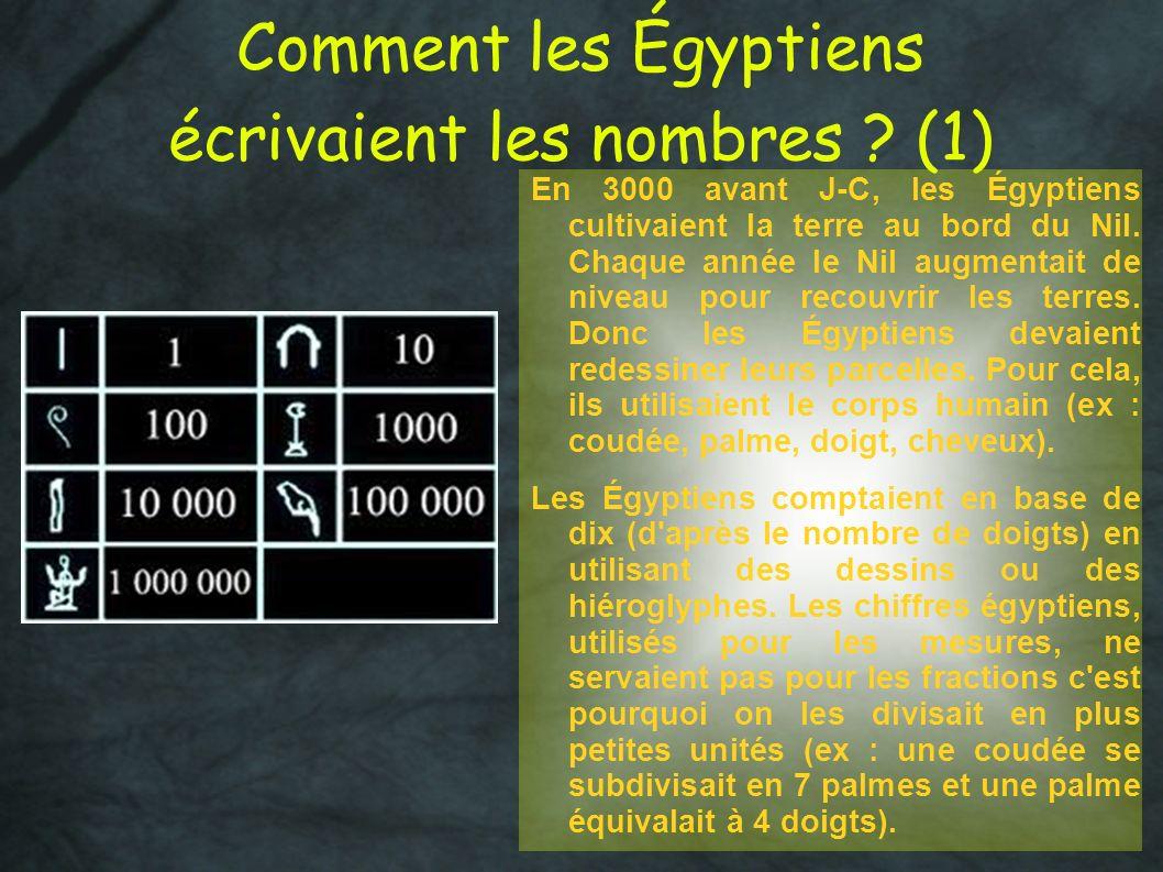 Comment les Égyptiens écrivaient les nombres ? (1) En 3000 avant J-C, les Égyptiens cultivaient la terre au bord du Nil. Chaque année le Nil augmentai