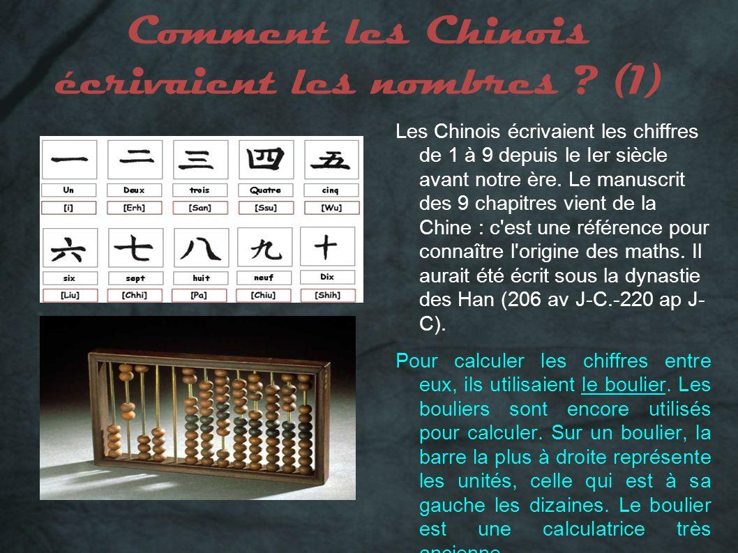 Comment les Chinois écrivaient les nombres ? (1) Les Chinois écrivaient les chiffres de 1 à 9 depuis le Ier siècle avant notre ère. Le manuscrit des 9