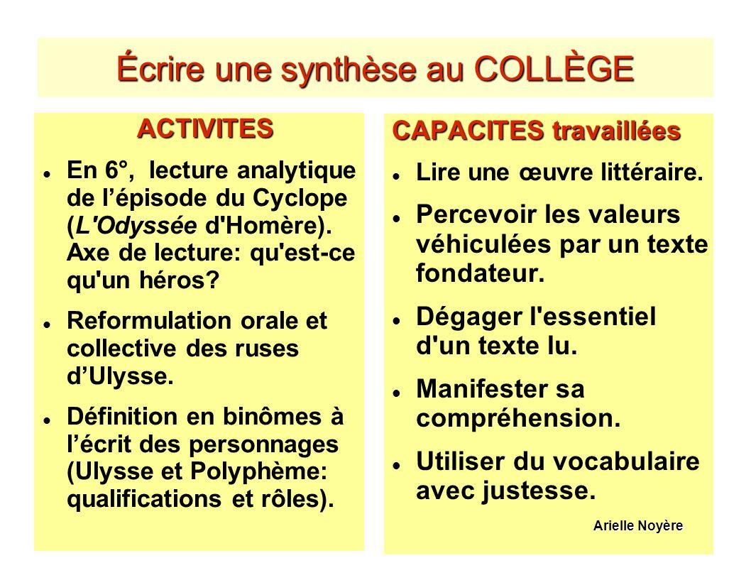 Écrire une synthèse au COLLÈGE ACTIVITES En 6°, lecture analytique de lépisode du Cyclope (L'Odyssée d'Homère). Axe de lecture: qu'est-ce qu'un héros?