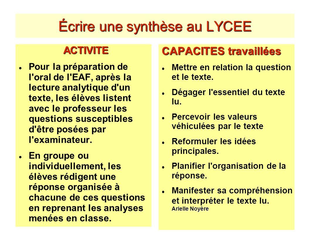 Écrire une synthèse au LYCEE ACTIVITE Pour la préparation de l'oral de l'EAF, après la lecture analytique d'un texte, les élèves listent avec le profe