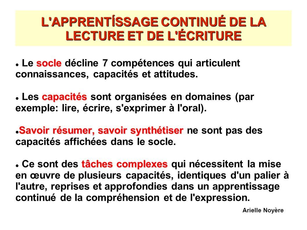 L'APPRENTÍSSAGE CONTINUÉ DE LA LECTURE ET DE L'ÉCRITURE socle Le socle décline 7 compétences qui articulent connaissances, capacités et attitudes. cap