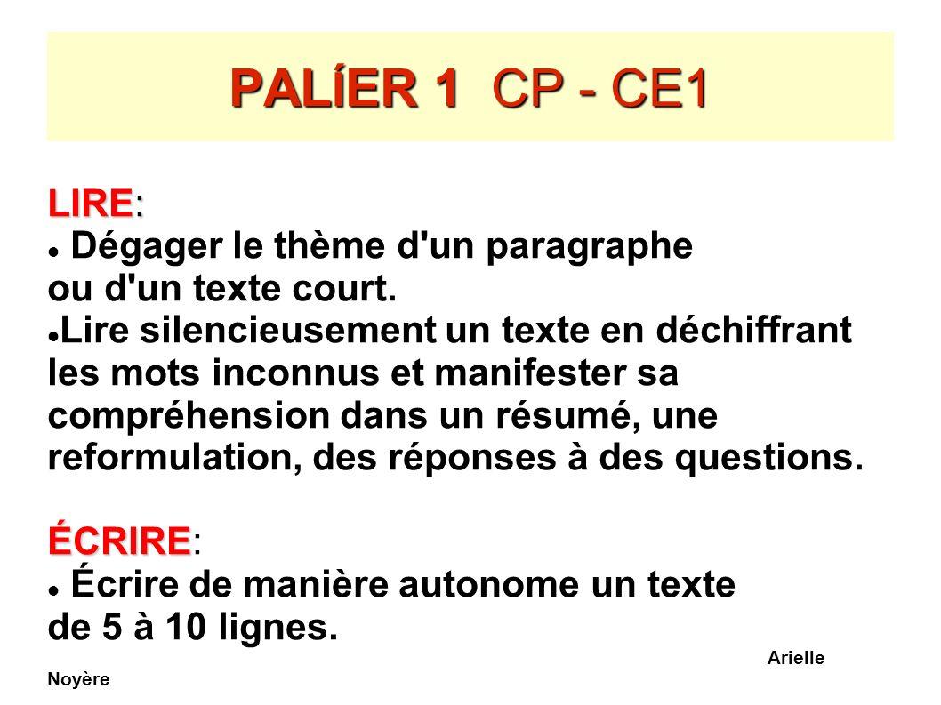 PAL Í ER 1 CP - CE1 LIRE: Dégager le thème d'un paragraphe ou d'un texte court. Lire silencieusement un texte en déchiffrant les mots inconnus et mani