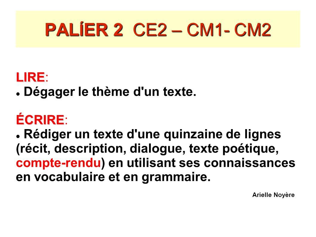 PAL Í ER 2 CE2 – CM1- CM2 LIRE LIRE: Dégager le thème d'un texte. ÉCRIRE ÉCRIRE: Rédiger un texte d'une quinzaine de lignes (récit, description, dialo