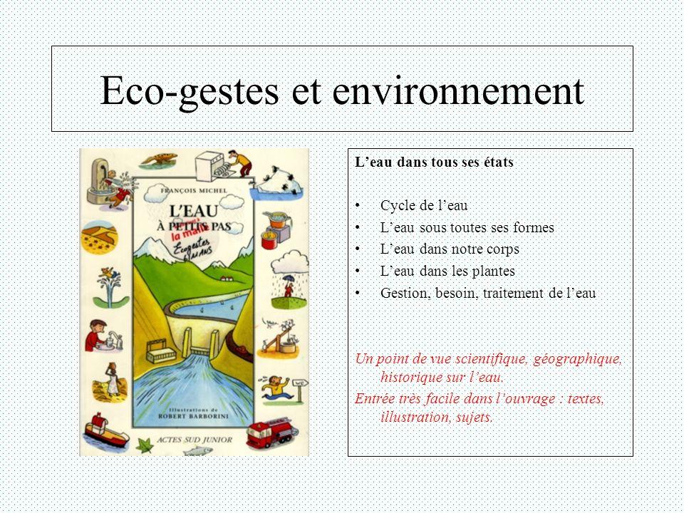 Eco-gestes et environnement Leau dans tous ses états Cycle de leau Leau sous toutes ses formes Leau dans notre corps Leau dans les plantes Gestion, be