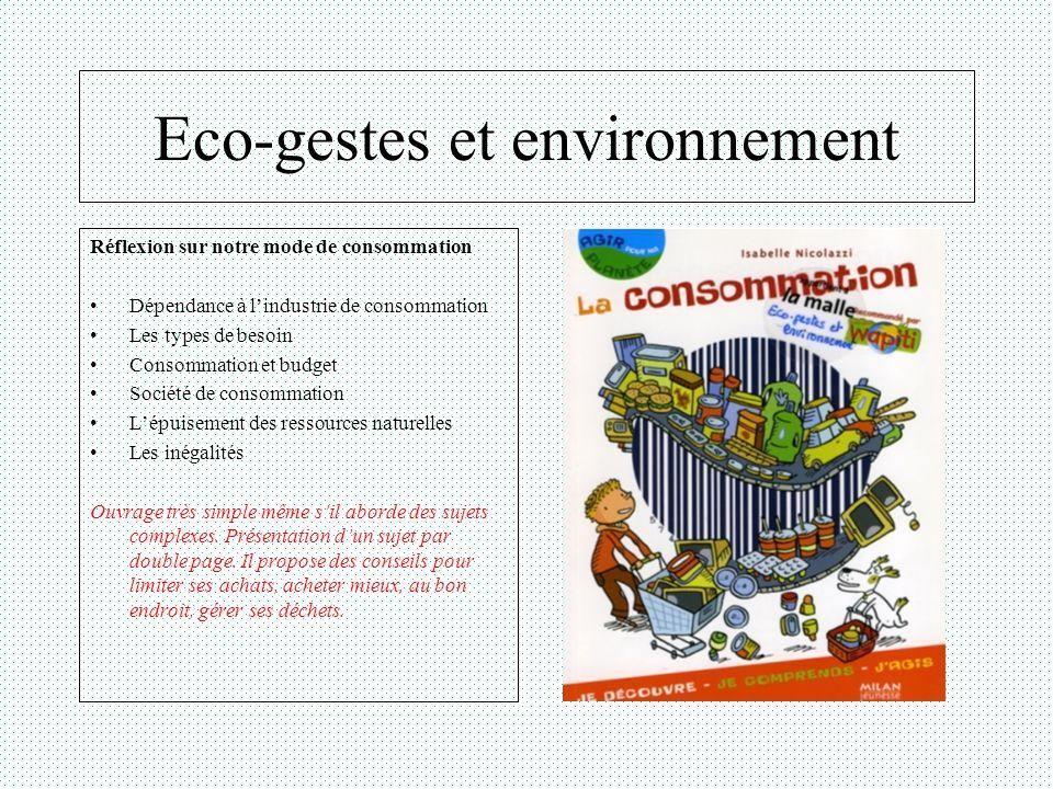 Eco-gestes et environnement Réflexion sur notre mode de consommation Dépendance à lindustrie de consommation Les types de besoin Consommation et budge