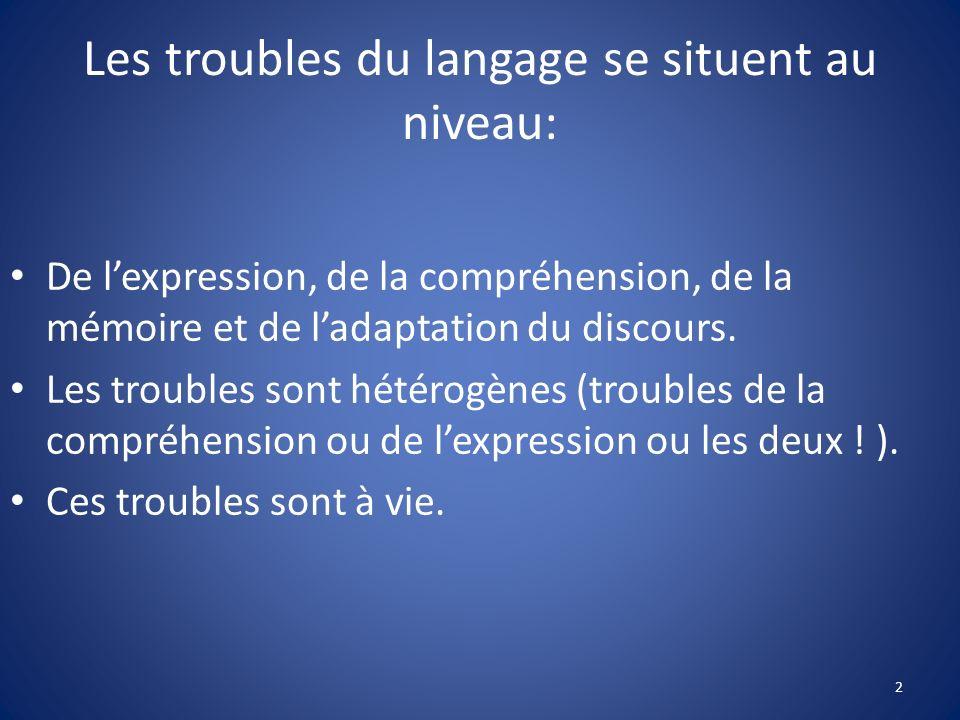 Les troubles du langage se situent au niveau: De lexpression, de la compréhension, de la mémoire et de ladaptation du discours. Les troubles sont hété