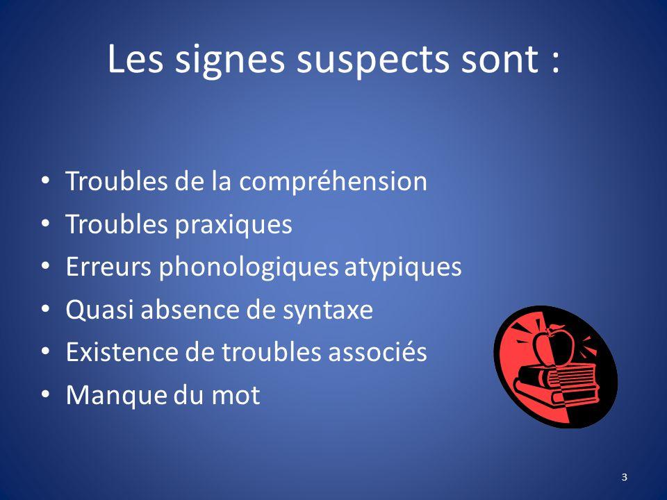 Les signes suspects sont : Troubles de la compréhension Troubles praxiques Erreurs phonologiques atypiques Quasi absence de syntaxe Existence de troub
