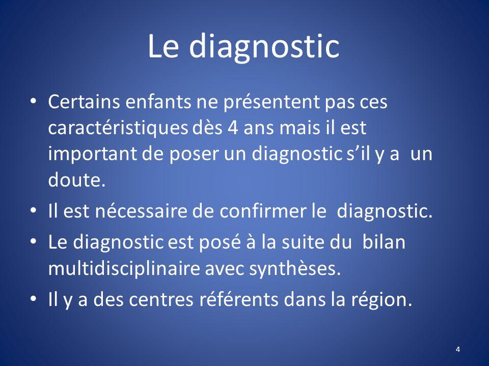 Le diagnostic Certains enfants ne présentent pas ces caractéristiques dès 4 ans mais il est important de poser un diagnostic sil y a un doute. Il est