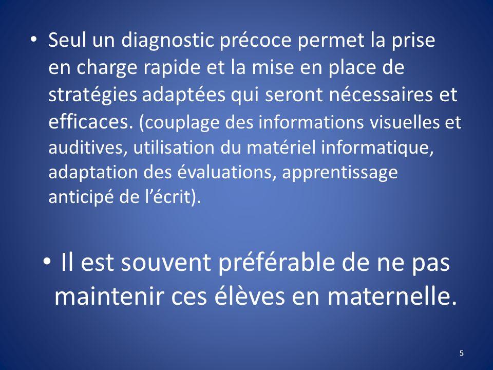 Seul un diagnostic précoce permet la prise en charge rapide et la mise en place de stratégies adaptées qui seront nécessaires et efficaces. (couplage