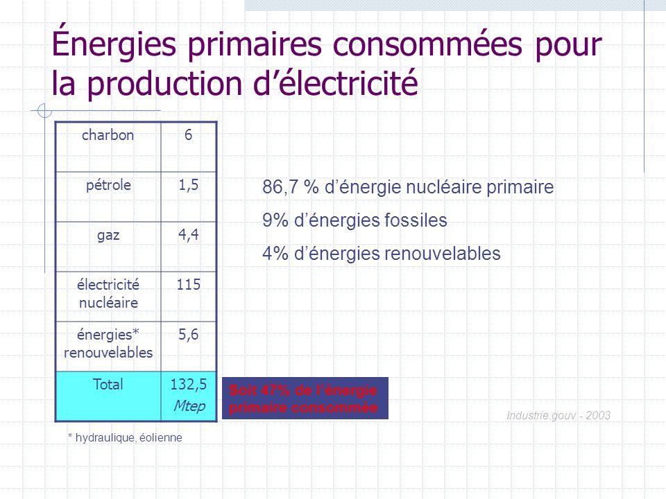 Énergies primaires consommées pour la production délectricité charbon6 pétrole1,5 gaz4,4 électricité nucléaire 115 énergies* renouvelables 5,6 Total13