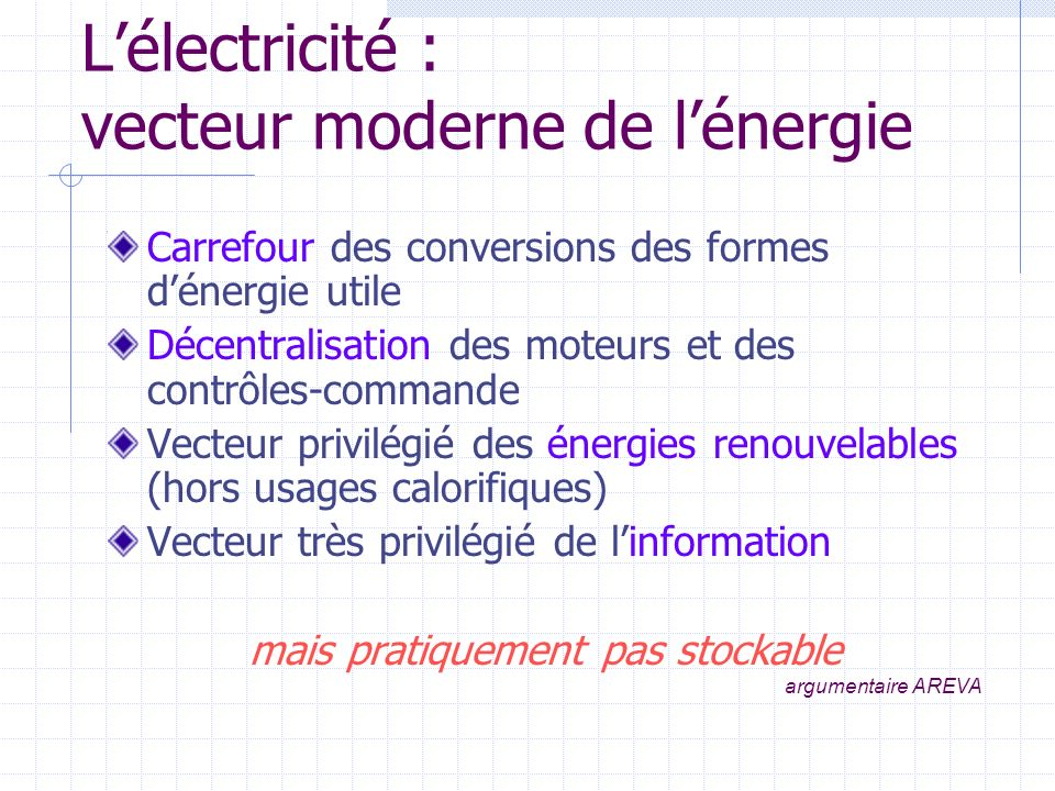 Lélectricité : vecteur moderne de lénergie Carrefour des conversions des formes dénergie utile Décentralisation des moteurs et des contrôles-commande