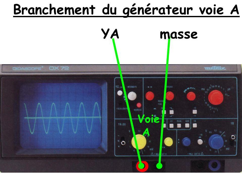 Branchement du générateur voie B YB masse Voie B
