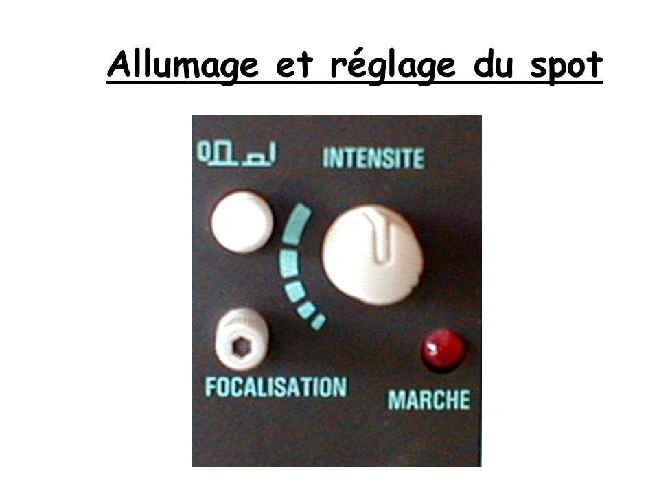 Lorsquon allume loscilloscope une trace horizontale (ou un point lumineux, spot) apparaît à lécran selon le mode de fonctionnement choisi.