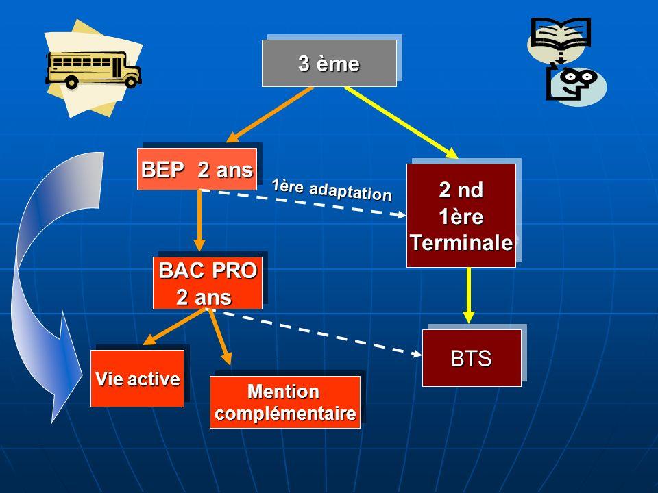 BEP 2 ans 2 nd 1èreTerminale 1èreTerminale BAC PRO 2 ans BAC PRO 2 ans BTSBTS Vie active 3 ème MentioncomplémentaireMentioncomplémentaire 1ère adaptat