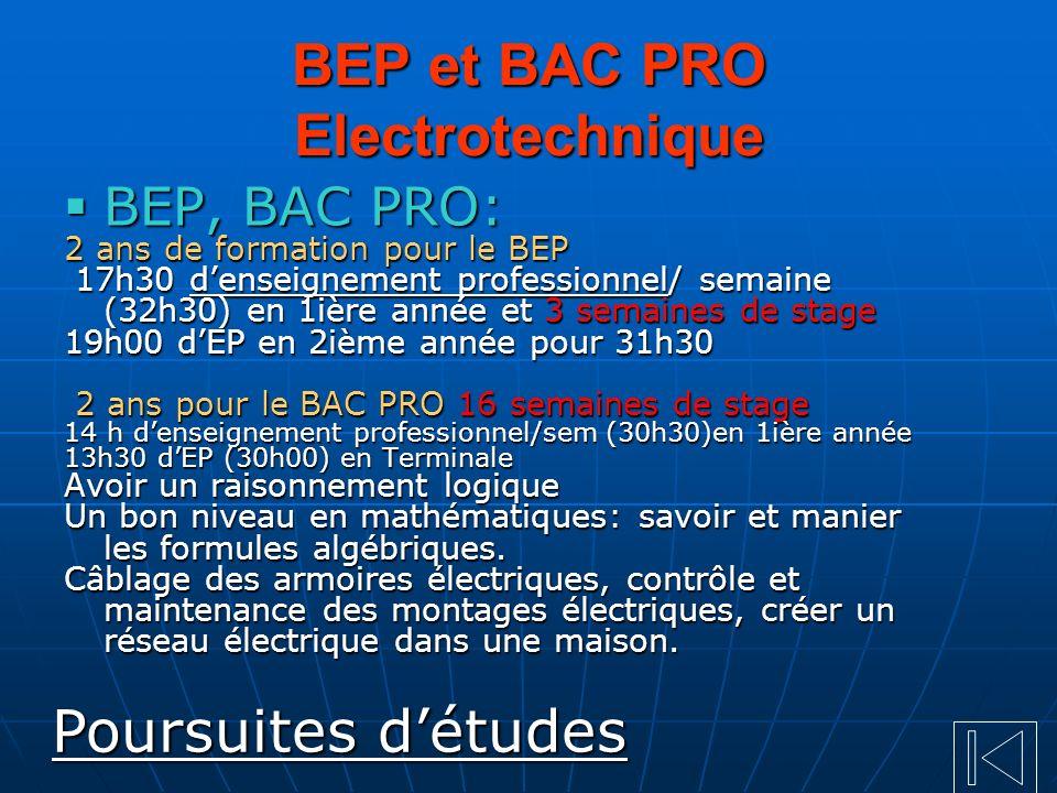 BEP et BAC PRO Electrotechnique BEP, BAC PRO: BEP, BAC PRO: 2 ans de formation pour le BEP 17h30 denseignement professionnel/ semaine (32h30) en 1ière