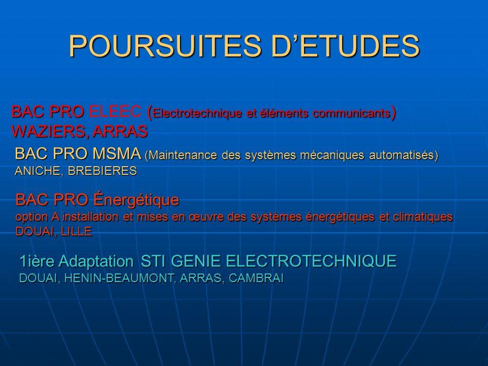 POURSUITES DETUDES BAC PRO ( Electrotechnique et éléments communicants ) BAC PRO ELEEC ( Electrotechnique et éléments communicants ) WAZIERS, ARRAS BA