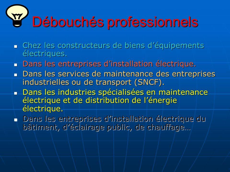 Débouchés professionnels Chez les constructeurs de biens déquipements électriques. Chez les constructeurs de biens déquipements électriques. Dans les