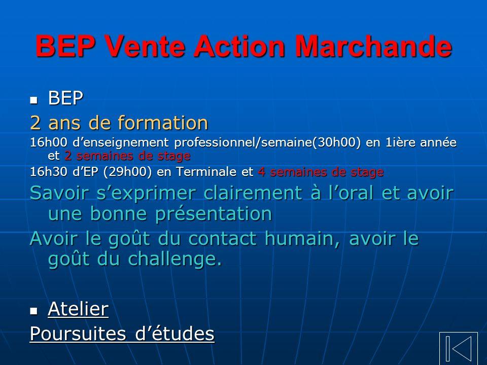 BEP Vente Action Marchande BEP BEP 2 ans de formation 16h00 denseignement professionnel/semaine(30h00) en 1ière année et 2 semaines de stage 16h30 dEP