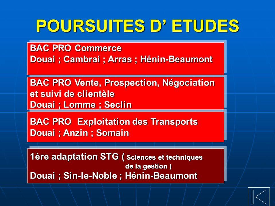 POURSUITES D ETUDES BAC PRO Commerce Douai ; Cambrai ; Arras ; Hénin-Beaumont BAC PRO Commerce Douai ; Cambrai ; Arras ; Hénin-Beaumont 1ère adaptatio