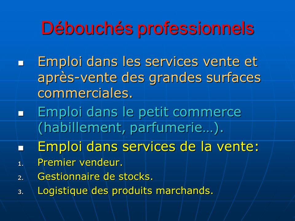 Débouchés professionnels Emploi dans les services vente et après-vente des grandes surfaces commerciales. Emploi dans les services vente et après-vent