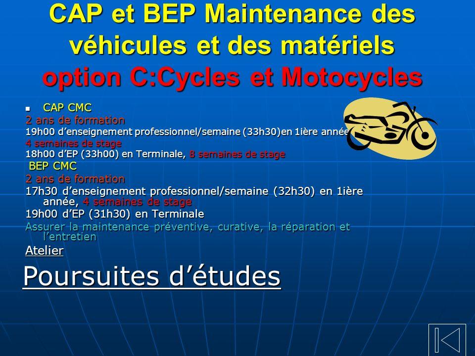 CAP et BEP Maintenance des véhicules et des matériels option C:Cycles et Motocycles CAP CMC CAP CMC 2 ans de formation 19h00 denseignement professionn