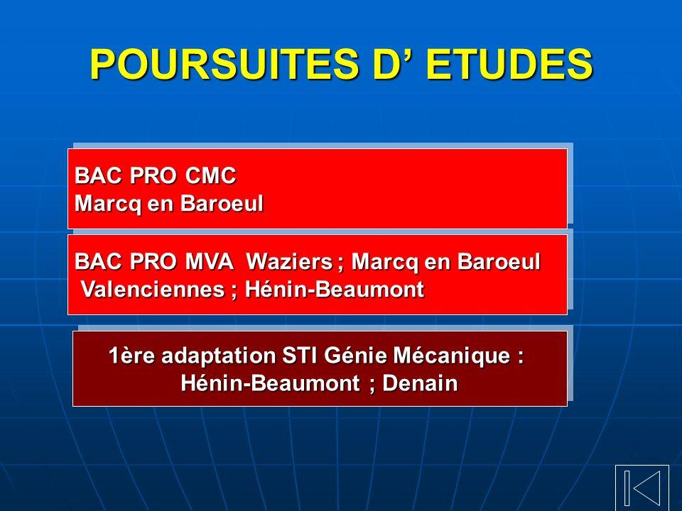 POURSUITES D ETUDES BAC PRO CMC Marcq en Baroeul BAC PRO CMC Marcq en Baroeul 1ère adaptation STI Génie Mécanique : Hénin-Beaumont ; Denain 1ère adapt