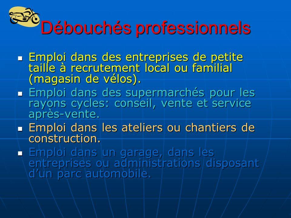 Débouchés professionnels Emploi dans des entreprises de petite taille à recrutement local ou familial (magasin de vélos). Emploi dans des entreprises