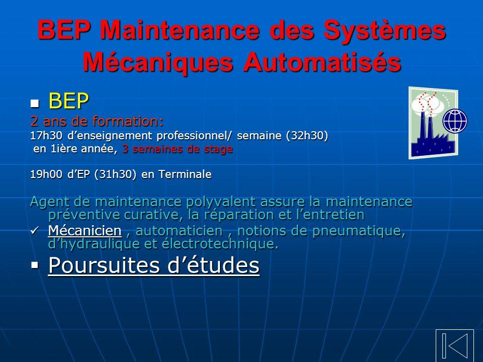 BEP Maintenance des Systèmes Mécaniques Automatisés BEP BEP 2 ans de formation: 17h30 denseignement professionnel/ semaine (32h30) en 1ière année, 3 s