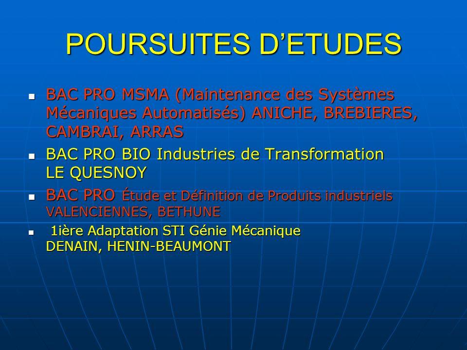 POURSUITES DETUDES BAC PRO MSMA (Maintenance des Systèmes Mécaniques Automatisés) ANICHE, BREBIERES, CAMBRAI, ARRAS BAC PRO MSMA (Maintenance des Syst