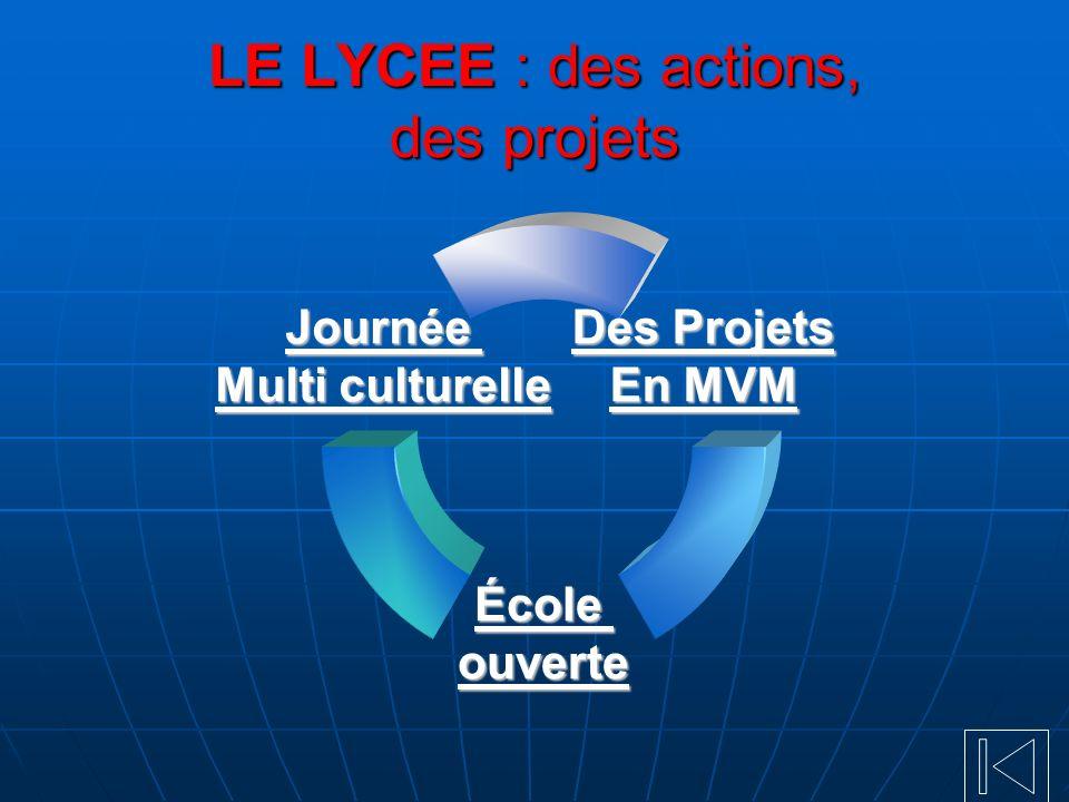 LE LYCEE : des actions, des projets Des Projets En MVM École ouverte Journée Multi culturelle Multi culturelle