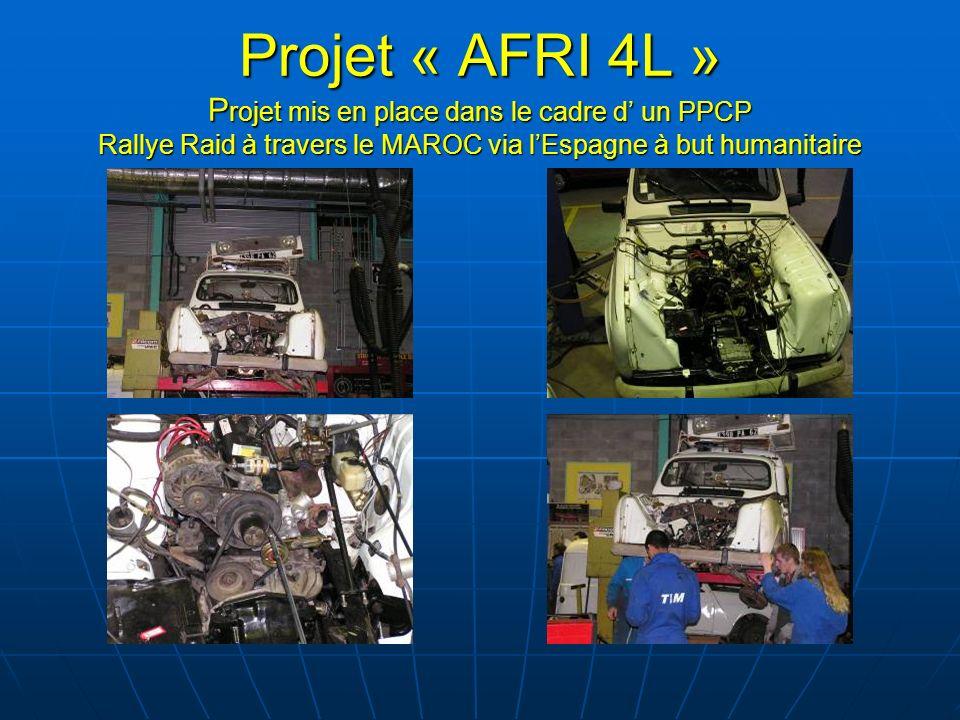 Projet « AFRI 4L » P rojet mis en place dans le cadre d un PPCP Rallye Raid à travers le MAROC via lEspagne à but humanitaire