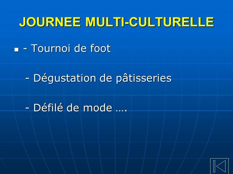 JOURNEE MULTI-CULTURELLE - Tournoi de foot - Tournoi de foot - Dégustation de pâtisseries - Dégustation de pâtisseries - Défilé de mode …. - Défilé de
