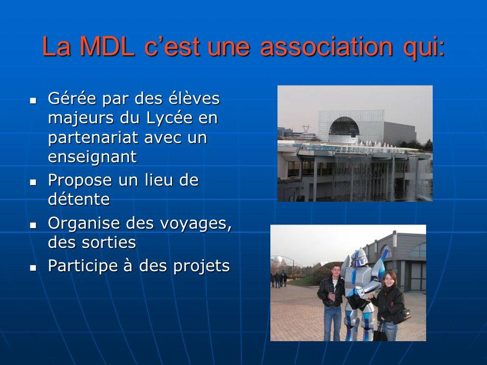 La MDL cest une association qui: Gérée par des élèves majeurs du Lycée en partenariat avec un enseignant Gérée par des élèves majeurs du Lycée en part