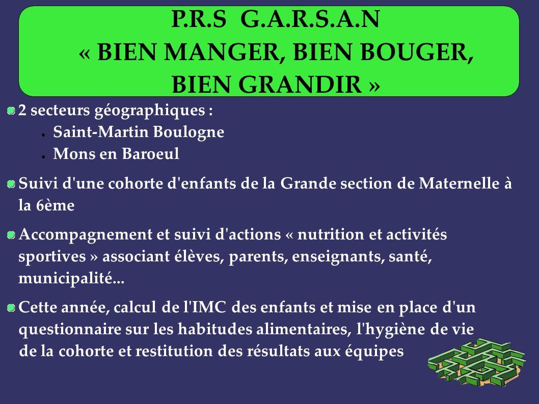 2 secteurs géographiques : Saint-Martin Boulogne Mons en Baroeul Suivi d'une cohorte d'enfants de la Grande section de Maternelle à la 6ème Accompagne