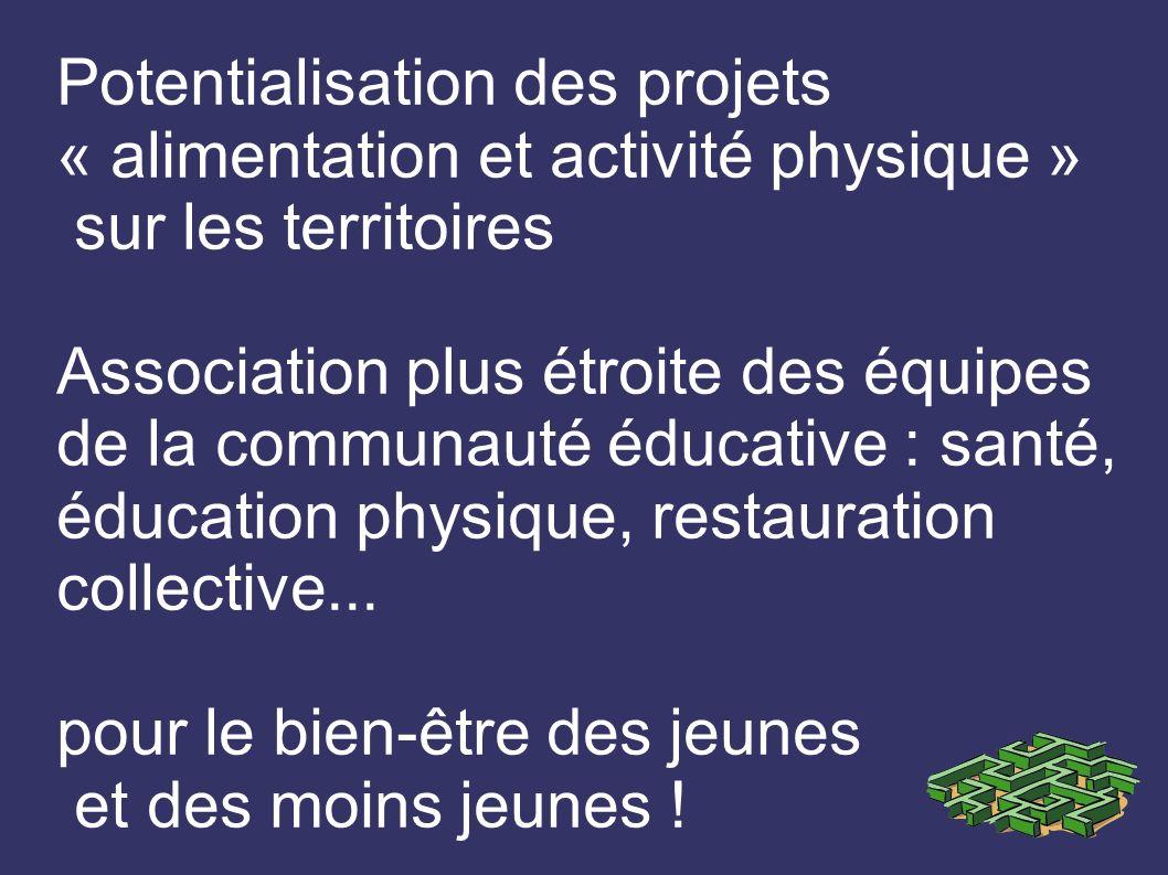Potentialisation des projets « alimentation et activité physique » sur les territoires Association plus étroite des équipes de la communauté éducative