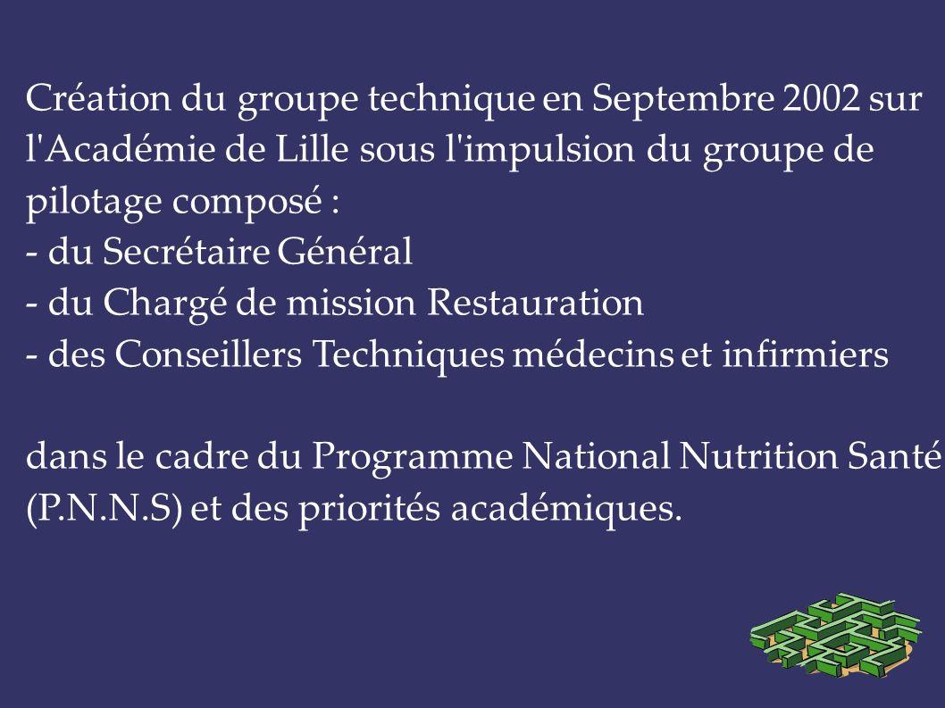 Création du groupe technique en Septembre 2002 sur l'Académie de Lille sous l'impulsion du groupe de pilotage composé : - du Secrétaire Général - du C