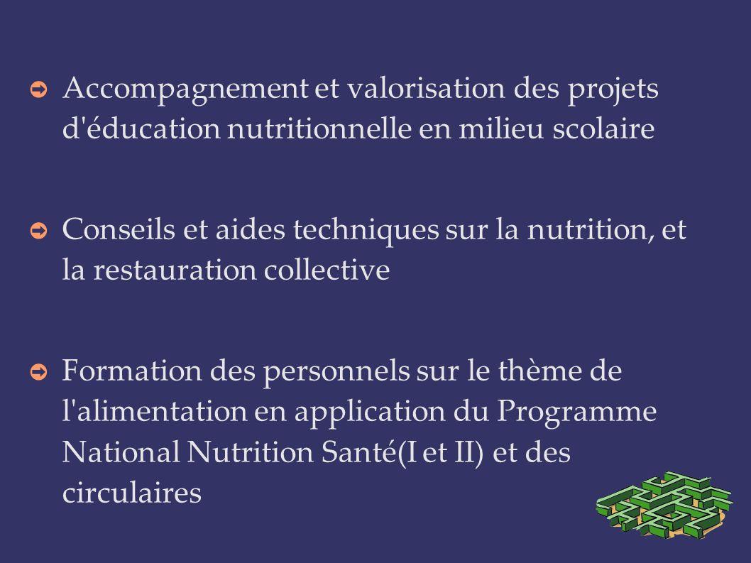 Accompagnement et valorisation des projets d'éducation nutritionnelle en milieu scolaire Conseils et aides techniques sur la nutrition, et la restaura