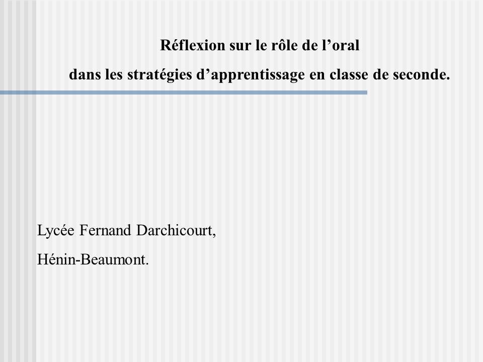 Réflexion sur le rôle de loral dans les stratégies dapprentissage en classe de seconde.