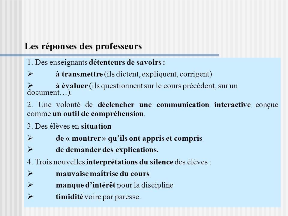 Les réponses des professeurs 1.