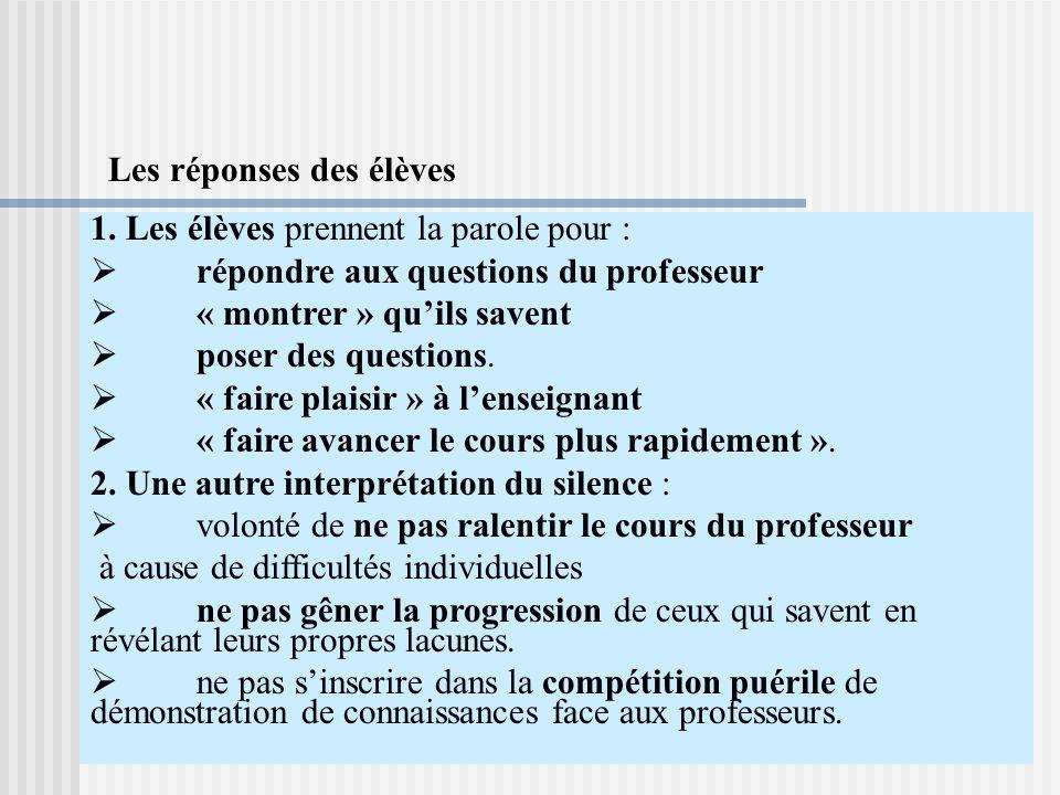 1. Les élèves prennent la parole pour : répondre aux questions du professeur « montrer » quils savent poser des questions. « faire plaisir » à lenseig