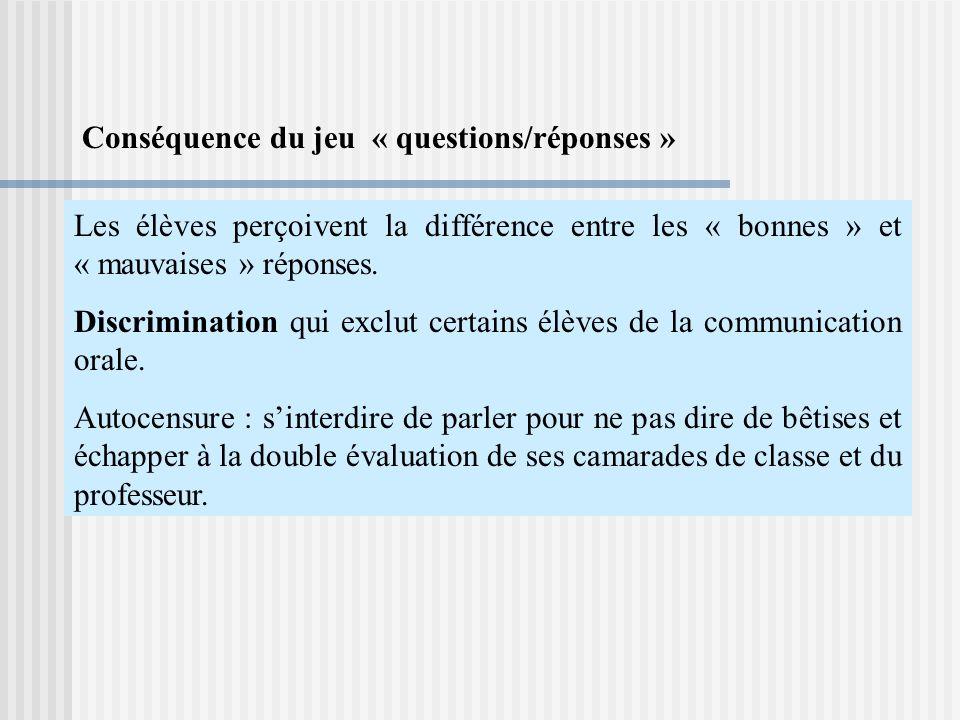 Les élèves perçoivent la différence entre les « bonnes » et « mauvaises » réponses.
