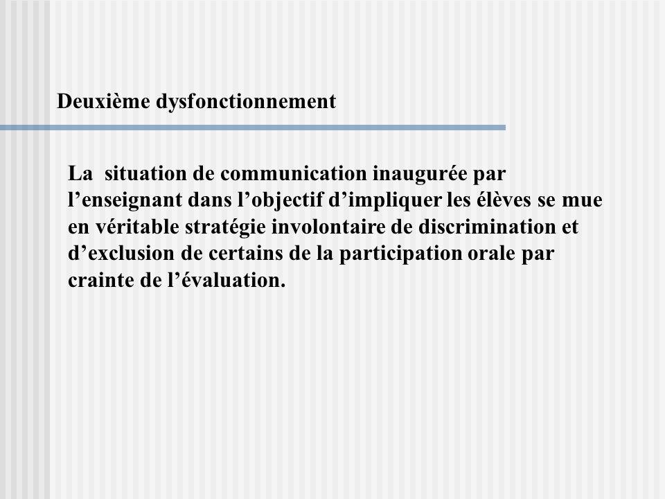 Deuxième dysfonctionnement La situation de communication inaugurée par lenseignant dans lobjectif dimpliquer les élèves se mue en véritable stratégie involontaire de discrimination et dexclusion de certains de la participation orale par crainte de lévaluation.