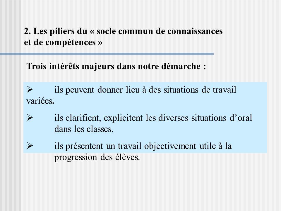 2. Les piliers du « socle commun de connaissances et de compétences » ils peuvent donner lieu à des situations de travail variées. ils clarifient, exp