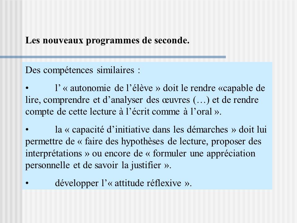 Des compétences similaires : l « autonomie de lélève » doit le rendre «capable de lire, comprendre et danalyser des œuvres (…) et de rendre compte de cette lecture à lécrit comme à loral ».