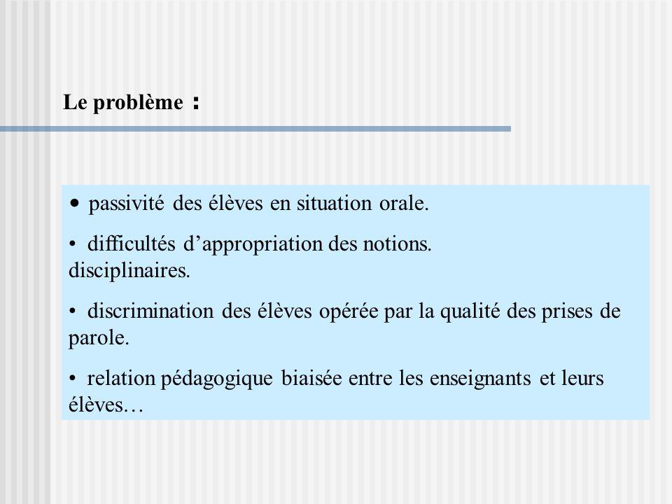Le problème : passivité des élèves en situation orale.