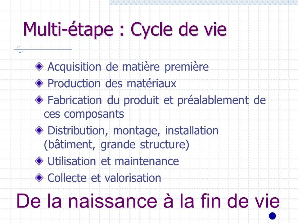 Multi-étape : Cycle de vie Acquisition de matière première Production des matériaux Fabrication du produit et préalablement de ces composants Distribu