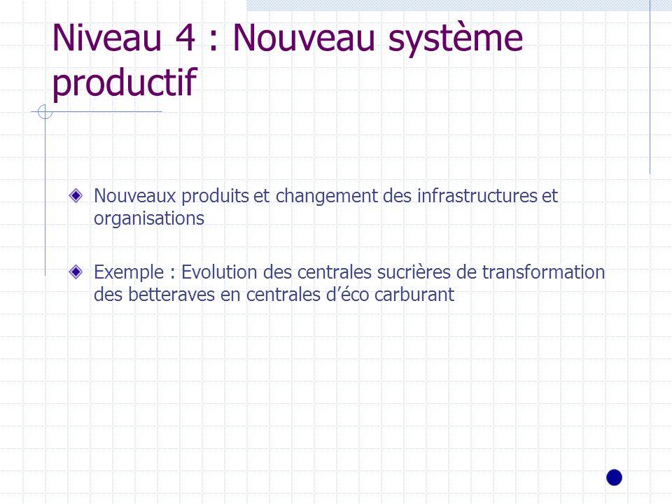Niveau 4 : Nouveau système productif Nouveaux produits et changement des infrastructures et organisations Exemple : Evolution des centrales sucrières