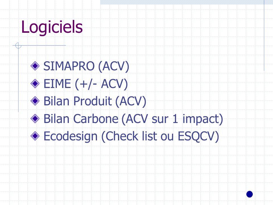 Logiciels SIMAPRO (ACV) EIME (+/- ACV) Bilan Produit (ACV) Bilan Carbone (ACV sur 1 impact) Ecodesign (Check list ou ESQCV)
